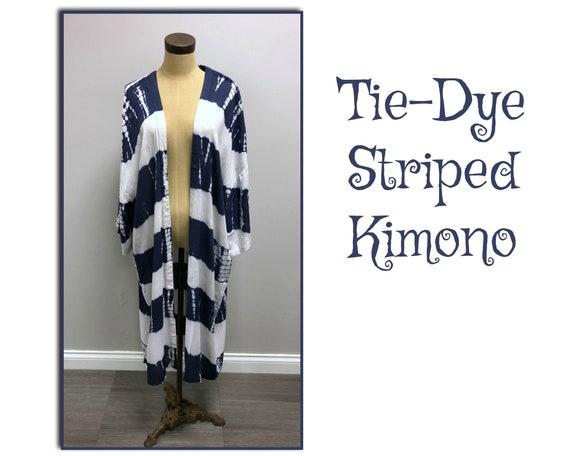 Tie-Dye Striped Kimono