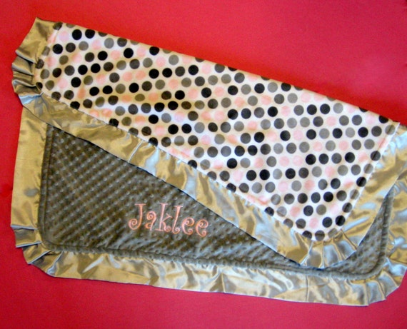 Monogrammed Blanket in Grey and Pink Polka Dot Minky with Satin Ruffles