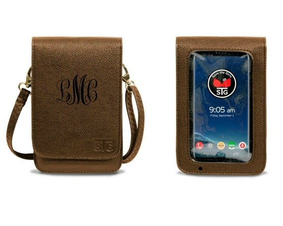 RFID Bronze Metro Touch Screen Crossbody Purse