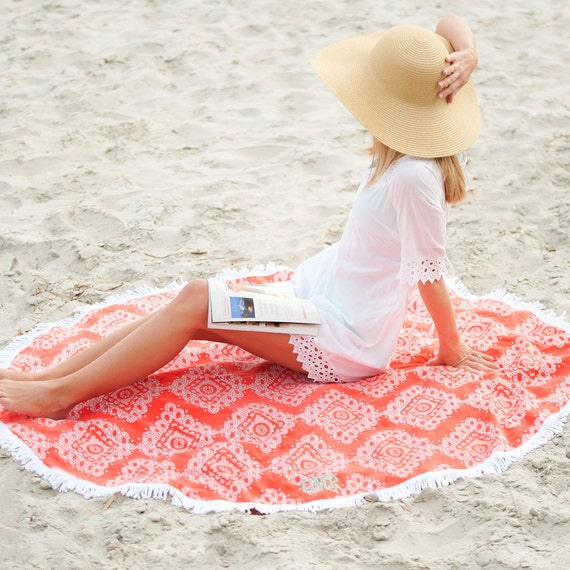 Coral Sand Circle Round Towel