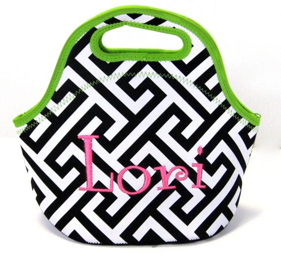 Lunch Bag in Greek Key and Lime