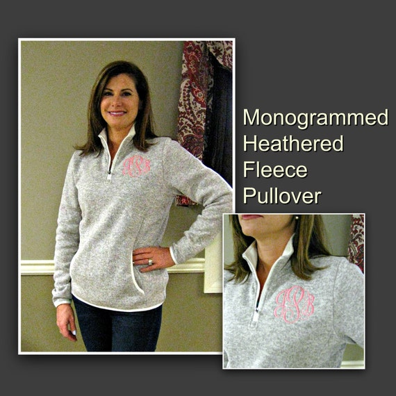 Women's Monogrammed Heathered Fleece Pullover in Oatmeal