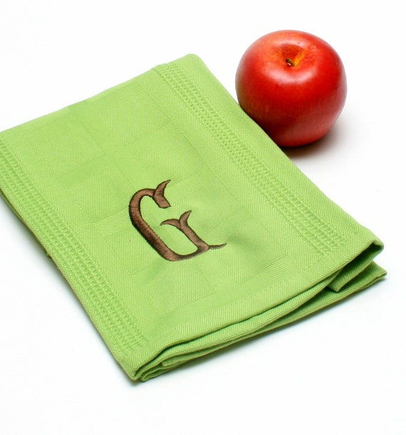 Monogrammed Bamboo Handtowels in Lime