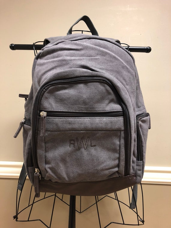 Washed Canvas Backpack in Steele Grey with Brown Accents
