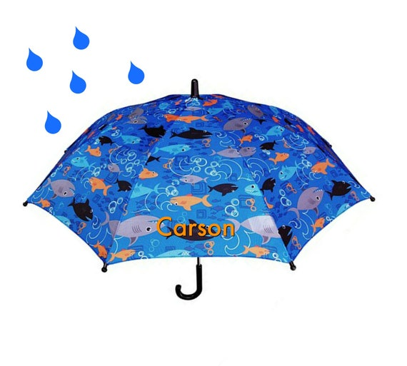 Monogrammed Shark Umbrella for Boys