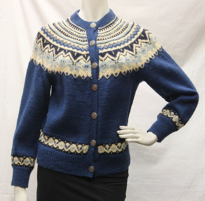 70406d0fadcedc Vintage Norway Design Womens Size S 100% Wool Blue Nordic
