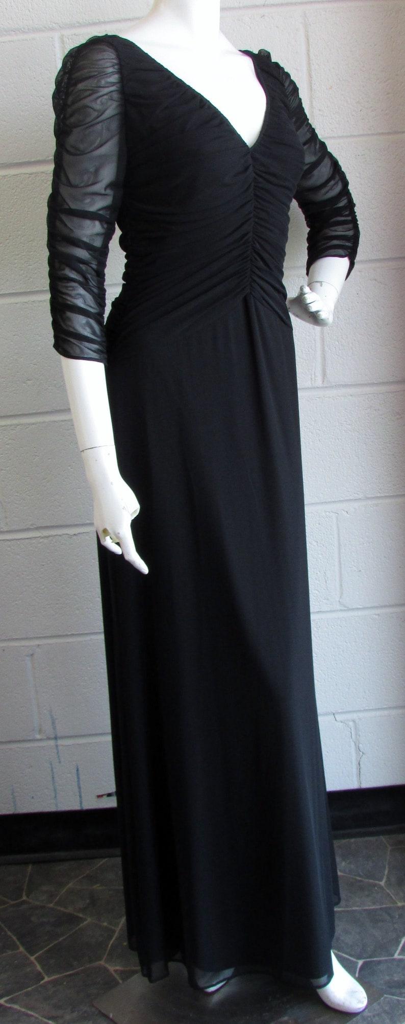 Collarless V-Neck Sheer Long Sleeves Full Length Size SM Made in USA Black Handmade Gown Vintage 90/'s