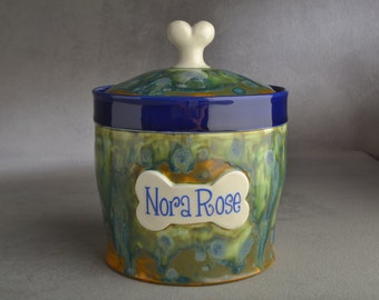 Personalized Dog Treat Jar Blue and Green Drippy Ceramic Pet Container Made To Order by Symmetrical Pottery