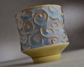 Yunomi Mug Blue Curls Stoneware Tea Coffee Mug by Symmetrical Pottery