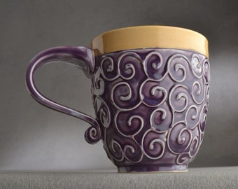 Curly Mug Ready To Ship Mottled Purple and Mocha Slip Trailed Mug by Symmetrical Pottery