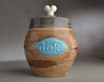 Dog Treat Jar Ready To Ship Brown Black Dog Treat Jar by Symmetrical Pottery