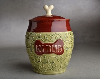 Dog Treat Jar Made To Order Green & Red Slip Trailed Dog Treat Jar by Symmetrical Pottery