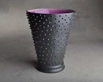 Spiky Vase: Dangerously Spiky Vase with Grape Inside by Symmetrical Pottery