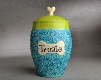 Personalized Dog Treat Jar Blue Green Curls Ceramic Pet Container Made To Order by Symmetrical Pottery