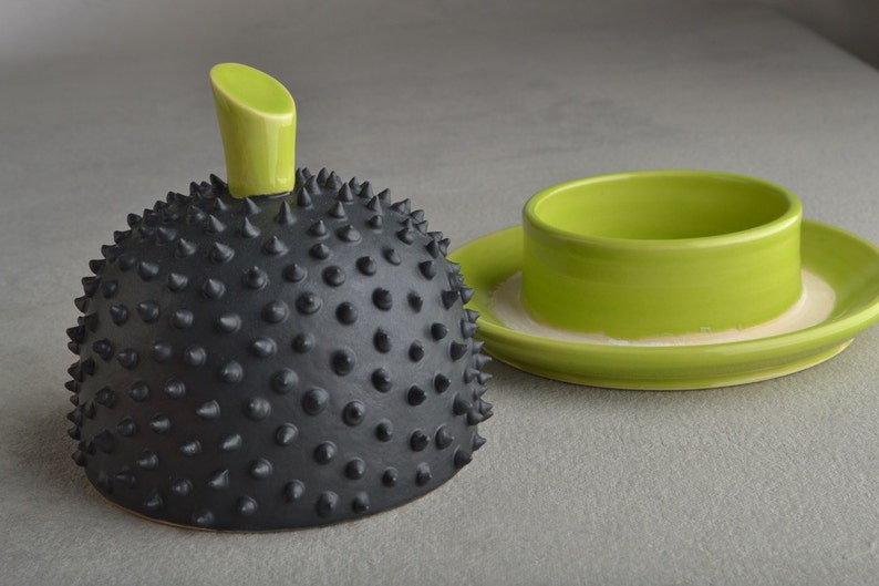 Spiky Butter Dish Made To Order Chartreuse And Black Butter Keeper by Symmetrical Pottery