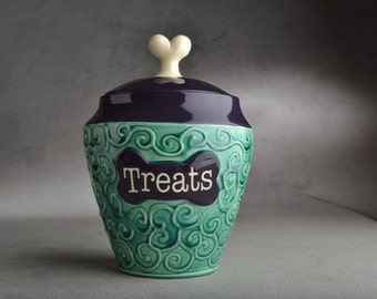 Personalized Dog Treat Jar Curls Green and Purple Ceramic Pet Container Made To Order by Symmetrical Pottery