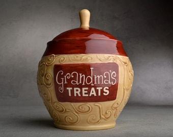 Treat Jar Made To Order Grandma's Treats Jar by Symmetrical Pottery