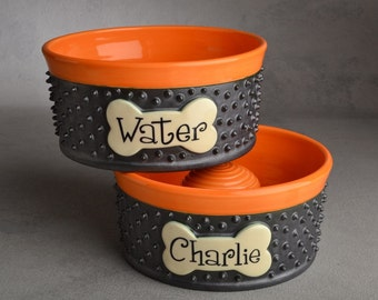 Personalized Slow Feeder Dog Bowl Set Spiky Ceramic Pet Dishes Made To Order by Symmetrical Pottery