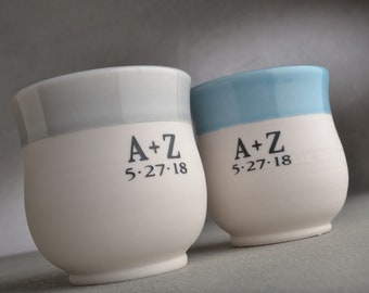 Personalized Toasting Glasses For Weddings Porcelain Ceramic Keepsake Cups by Symmetrical Pottery