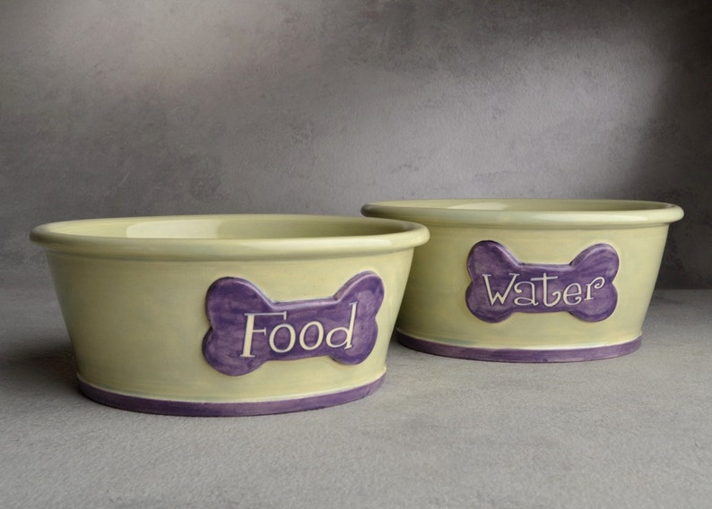 Dog Bowl Set Made To Order Personalized Smooth Dog Bowls by Symmetrical Pottery