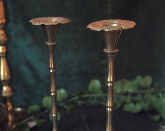Vintage Tall Floral Mini Candlestick Holders