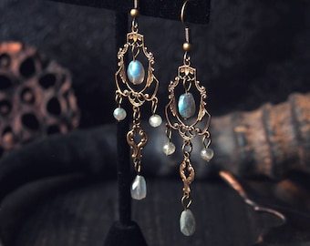 Fairy Evening Earrings Antique Brass Labradorite Chandelier 2 3/4 inches