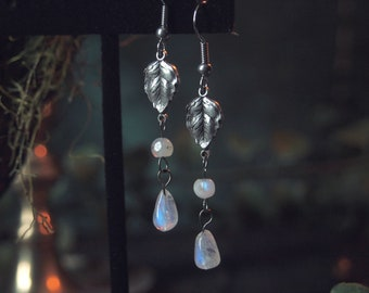 Elven Leaf Silver Rainbow Moonstone Earrings 2 1/4 inches