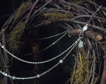 Elven Kingdom Headpiece Silver Rainbow Moonstone 21 inches Cosplay Wedding
