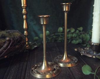 Vintage Brass Mini Decorative Candle Holder 2 Piece Set