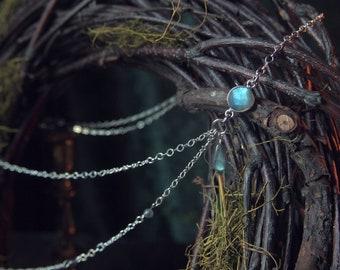 Elven Kingdom Headpiece Silver Blue Labradorite 21 inches Cosplay Wedding