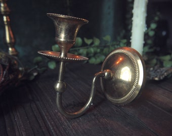 Vintage Brass Wall Sconce Candle Holder