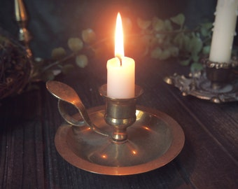 Vintage Brass Candle Holder with Extended Thumb Holder