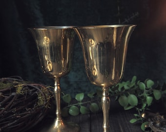 Vintage Brass Bell Goblets - Only 2 available