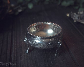 Vintage Floral Silver Trinket Dish with Legs