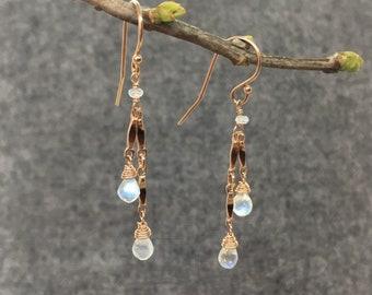 Rose Gold Moonstone Dangle Earrings