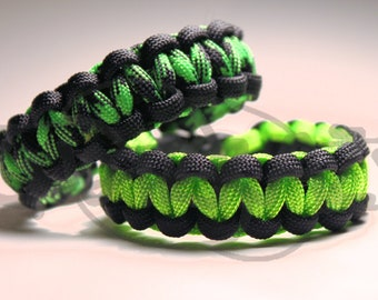 Black and Green Gamer 550 Paracord Survival Strap Bracelet Anklet w/ 3/8 Buckle