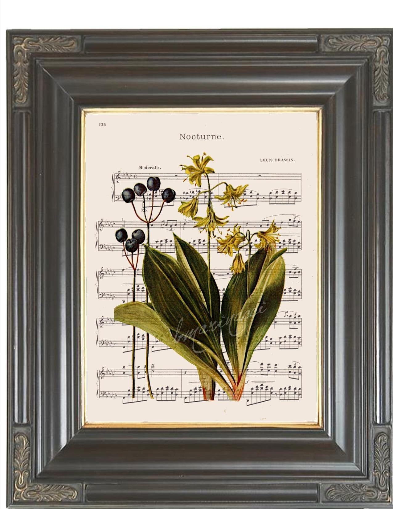 ART PRINT ORIGINAL VINTAGE MUSIC SHEET Page DRAGONFLY FLOWER Lily PINK BOTANICAL