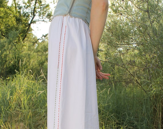 ARROW Antique Petty Coat Hand Embroidered Maxi Skirt Elasticized Waistband 1910s