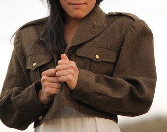 SAGE Vintage 1940's  French Army Coat Wool Authentic Military Jacket