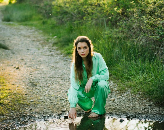 GENIE Vintage 60's Nightie Set Pale Green 1960's Silk PJ