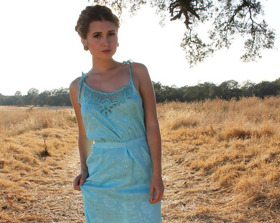 DEW 1950's Bali Cutwork Dress Blue Slip Dress Size Small