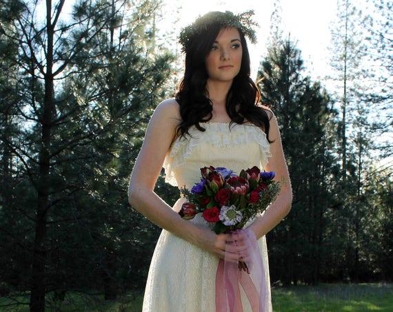WILDFLOWER Vintage 1970's Wedding Gown Prairie Bridal Cream Boho Gunne Sax Style