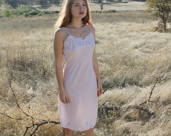 SWEETHEART Vintage Slip Dress 1960's Intimates Pink Cotton and Lace Slip Dress Undergarment Layering Size 34 Wondermaid Fine Lingerie