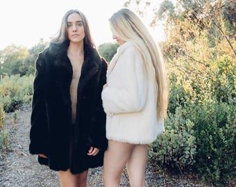RONAN Faux Fur Coat Vintage 1980's Brown Fake Fur Winter Swing Coat