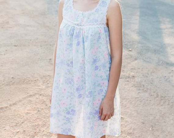 PETUNIA 1980's Vintage Night Gown Babydoll Nightie Cotton Shabby Chic