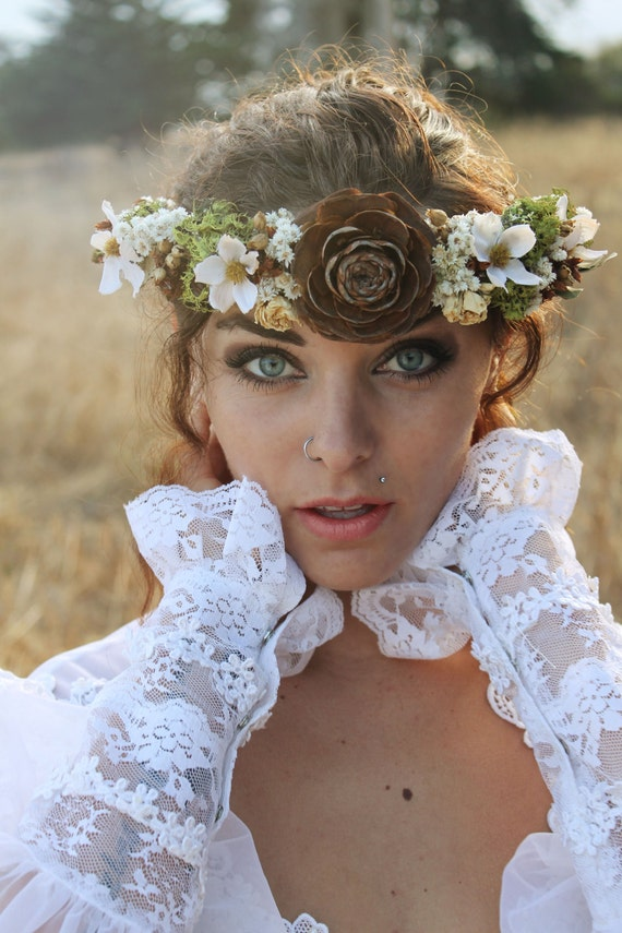 DEODORA  FLower Crown One of a Kind Boho Bridal Handmade Special Occasion Real Dried Flowers Pine Cone Lichen Moss Woodland Wedding