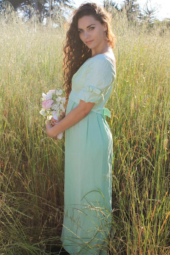 SWEET PEA 1970's Vintage Party Dress  Maxi Dress Mint Green Empire Waist Sage Size Small