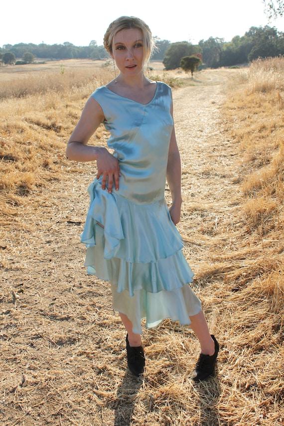 AQUA Rare Antique Flapper Dress 1920's Drop Waist Bias Cut Satin