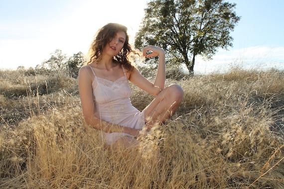 ASTER Vintage Slip Dress 1940's Intimates Pale Pink Lace Nylon Slip Dress Undergarment Layering Size 34