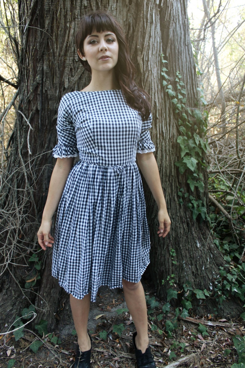 GINGHAM Vintage Checkered Party Dress Black and White with Lace Trim 1950/'s Knee Length